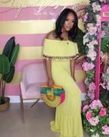 Designer Robes d'été Slash cou couleur unie robe vente chaude Casual en vrac vacances Vêtements Tassel Ruffle Femmes