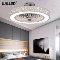 Elektrische Lüfter Fernbedienung Deckenventilator Lampe mit Controller weiß Moderne LED-Leuchten 55 cm Hell Wohnzimmer Schlafzimmer Beleuchtung 220V
