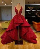 Alto Bajo roja del baile vestidos de la colmena del cordón del tren de lentejuelas cuello en V profundo vestido de la celebridad Vestidos de boda de lujo vestidos de noche Cuentas