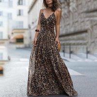 قمم أزياء اللباس مثير ليوبارد V عنق الرافعة اللباس ماكسي فساتين الصيف النساء بلا أكمام الشيفون شاطئ طويل رداء