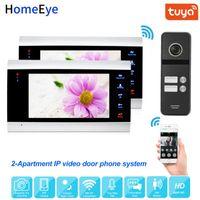 Tuya inteligente Remote App botón de control de IP video de la puerta Teléfono WiFi intercomunicación video 2-apartamentos de Seguridad Control de Acceso Touch