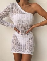 Sexy Hollow Out Dress Summer Designer One Shoulder Beach Lace Smog Females White Pencil Dresses Womens