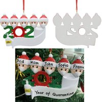 DIY Weihnachten Cartoon-Familie Quarantäne Maske Hand Weihnachtszierde Geschenk für weiß schwarz BWC2303 Baumschmuck hygienisiert