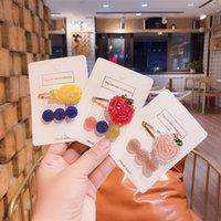 Coréen Accessoires cheveux pour enfants mignon strass cheveux clip fluorescent perlé tissé cerise Banana Hairpin