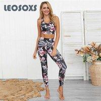 LEOSOXS New Suit Yoga For Women 2020 moda Folha Imprimir fitness exercício Set cintura alta Leggings Correndo Set Yoga