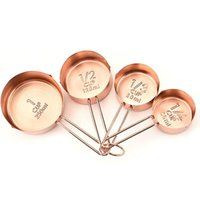High Quality Copper Stainless Steel Measuring Cups 4 Pieces Set Kitchen Tools Making Cakes and Baking Gauges Measuring