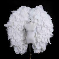 Avestruz blanco alas de ángel de plumas de alta calidad de lujo colgar de la pared de la moda decoración de la boda del ornamento de la decoración del partido de las