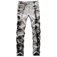 Unique Mens Stretch Slim Fit Jeans Fashion Tie Dye Biker Denim Pants Big Size Motocycle Hip Hop Trousers For Male 1077