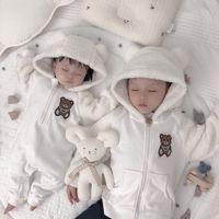 가을 겨울 신생아 rompers 아기 양털 jumpsuit 후드 Jumpsuit 유아 여자 소년 따뜻한 재킷 신생아 아기 바지