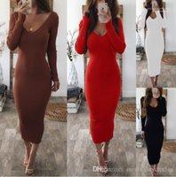 مخطط الفساتين مزدوج V المرأة مثير الهيئة غير الرسمية فستان طويل الخريف الشتاء محبوك بأكمام طويلة