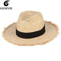 Skąpy bruchy kapelusze Gemvie lato dla kobiet Fringe pomponem Rafia Słomkowy kapelusz z czarną wstążką Składany Duży Sun Men Beach Cap Panama