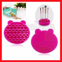 Escova da composição Cleaner Silicone lavagem escovas de limpeza Esponja e Mat Cosmetic escovas limpa Scrubber Fundação Limpeza Pad compõem ferramenta