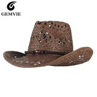 Cappelli larghi Gremvie Gemvie Cowgirl Cappello estivo per le donne Carta Paglia da uomo Outback Western Cowboy Sun Beach Cap