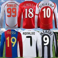 Manches longues rétro Real Madrid Zidane Raul R.Carlos Soccer Jersey Japon Rivaldin Ronaldinho Ronaldo Espagne Chemise de football classique
