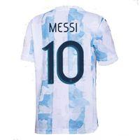 20-21 Argentine 10 Messi Homethai Qualité Soccer Jerseys Hommes Personnalisé 22 L.Martinez 21 Dybala 11 di Maria 9 Kun Agüero 20 Lo Celso