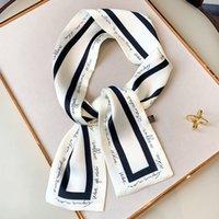 Longo Plano Ângulo Letter Moda Ocupação Scarf pequeno lenço de seda Headband Bag Handle Scarf presente para as mulheres