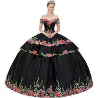 Off Spalla maniche corte basque floreale colorato applique a tiered hedline skirt skirt rimovibile Due pezzi Nero Quinceanera Dress
