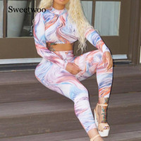 Sexy Sportswear Mulheres Yoga Set manga comprida Jumpsuit alta Neck Push Up cintura alta Leggings 2PC Workout Playsuit de Fitness Treino Y200904