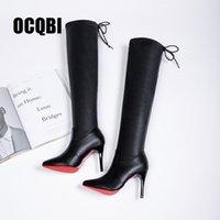 Inferior 2019 Calçados Femininos Botas Salto Alto Vermelho sobre as botas no joelho Couro Moda Beleza Manga comprida Botas Tamanho 35-39