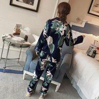 Kadınlar Plus Size 5XL Pijama Sonbahar Çiçek Baskılı Saten İpek Pajama Rayon pijamalar Uzun Kollu Pantolon Gecelik Suit 200919