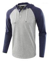 С длинными рукавами Топы Рубашки Дизайнер Мужской Весна Осень с капюшоном Повседневная футболки