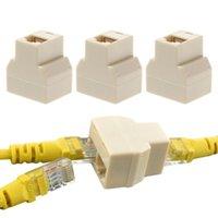 3pcs / Bilgisayar Beyaz Yüksek Kalite 2 Yollu LAN Ethernet Ağ Kablosu RJ45 dişi Splitter Konnektör Adaptörü set 1