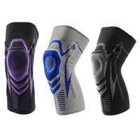 Fitness-Knie-Klammer-Unterstützung mit Feder Stabilisatoren Patella-Silikon-Auflage Meniscus Compression Absorption Sleeve