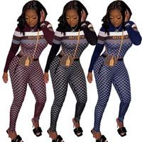mulheres designer de treino duas peças set sportswear outfits leggings pullover manga longa camisolas camisa Sportsuit BODYCON calças k4881