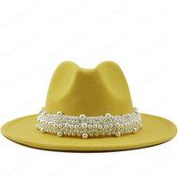여성 남성 양모 펠트 재즈 페도라 모자 패션 교회 파티 여자 드레스 모자 진주 리본 장식 화이트 모자