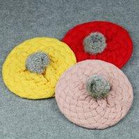 Inverno Quente Beret Crianças coelho bola de cabelo Hat coreana Moda Menino e meninas Gorro Pure Ear Cor Proteção