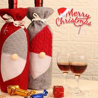 Rotweinflasche Abdeckung Taschen Sankt Faceless Gnome Weihnachtsdekoration Partei-Dekor-Flaschen Cover 2 Farben LJJK2480
