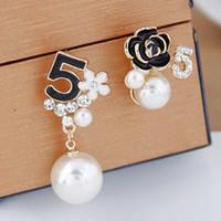 Qualitäts-Art- und Earing Brief Blume Ohrringe Kette Designer Luxus Brincos Orecchini Perlen-Ohrringe für Frauen