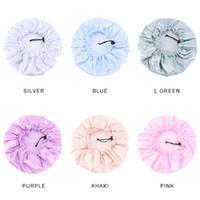 Color sólido Ajustable Bonete Noche Tapas de dormir para niños Niños Satin Turban Bath Sombrero de natación Adornos de cuidado del cabello