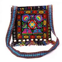 Estilo nacional Hmong chino de la vendimia del hombro étnico del bolso bordado de Boho de la borla del mensajero del totalizador del Hippie