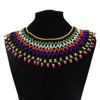 Chokers Boho African Zulu Rosa Harz Perlen Halskette Tribal Choker Bunte Acryl ethnische BIB-Kragen-Erklärung Collares Jedeery
