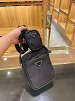 망과 여성의 검은 색 크로스 바디 가방 어깨 전화베이스 미니 사이즈 고품질 솔리드 컬러 주머니와 유니섹스 삼각형 나일론 2 피스