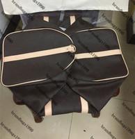 55CM 50CM 45CM الأزياء الكلاسيكية حقائب الرجال حقيبة السفر جلد طبيعي تريم كيس من القماش الخشن حقائب السفر مع بطاقة لينة قماش حقيبة شحن مجاني