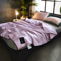 High Quality Ice Silk Summer Quilt Smooth Blanket Solid Comforter Bed Cover Quilting Suitable for Adult No Pillowcase Washable