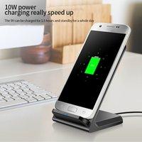 5 W 10 W Hızlı Şarj Dikey Cep Telefonu Holde Qi Kablosuz Şarj Standı Ped Cep Telefonu için 2 Bobin Kablosuz Şarj