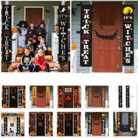 New Halloween Detalhes no doçura ou travessura Decoração Porta Dístico para Ghost Pumpkin Festival ao ar livre pátio do jardim de suspensão bandeira da bandeira HH9-3310
