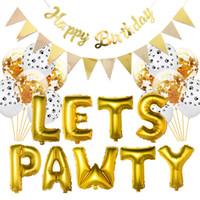 Сторона украшения домашних животных день рождения тема декор животных баннер кошка лицо собака флаг 16 дюймов письмо давайте Pawty Balloon набор услуг