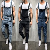 Erkek Sıcak Satış tulumları Delik Kot Skinny Düğme Sling Pantolon Erkek Vintage Katı Mevsimler Erkek Giyim