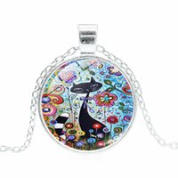 Cat In The Flowers Time Gemstone Necklace Glass Pendant Jewe...