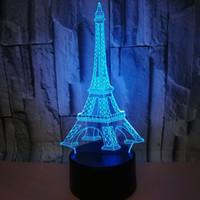 أدى الإبداعية 3D أضواء LED التبديل اللمس الجدول مصباح ملون برج ايفل الرؤية ستيريو ضوء التحكم عن بعد التدرج 3D ليلة الخفيفة