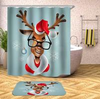 ستائر دش ديكور عيد ميلاد سعيد سانتا كلوز شجرة الغزلان هدية الستار للحمام مع السنانير سنة سعيدة