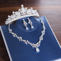 Luxury Bridal Tiaras Crown Leaf Wedding Jewelry Sets Statement Necklaces Earrings Set Hair Accessories African Beads Jewelry Set