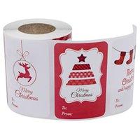 """250pcs 2 """"* 3"""" DIY Weihnachten Aufkleber Rechteck-Rollenaufkleber CartoonSnowman Santas Deer Seal Label-Tag Craft Projekt Gift Card Festival-Dekor"""