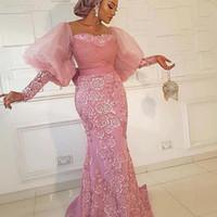 Puffärmel Mermaid Abendkleider Aso Ebi SpitzeAppliques Abendkleid plus Größe Sheer Neck-formale Partei-Kleider
