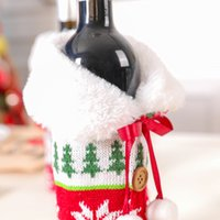 Knitted Reindeer Snowflake Red Wine Bottle Set Christmas Decoration Hairball Wine Bottle Set Household Items Two Styles Available
