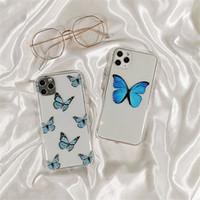 Telefone de impressão de borboleta para iphone 11 pro máximo 7plus 8 8plus xr xs max moda transparente tampa macia transparente